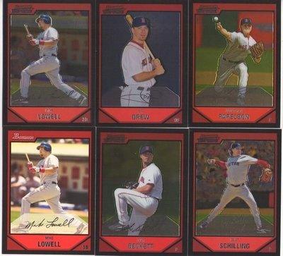 2007 Topps Turkey Red + Bowman Chorme 紅襪隊套卡 Curt Schilling + Beckett 等12張一起賣