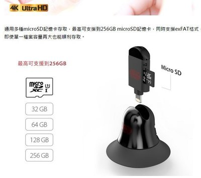 出租 iphoen 5 /  6 /  7 讀卡機 iKlips黑武士iOS讀卡機  含64G卡 支援 4k直接錄影 桃園市