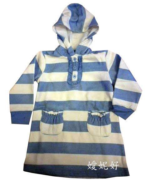 嬡妮好 舖  女 連帽天空藍橫條連身裙 加厚  上衣裙 洋裝 尺寸12~18M.2T.3