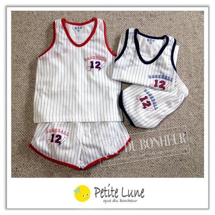.Petite lune小月亮.STN8023可愛棒球背心+短褲套裝組