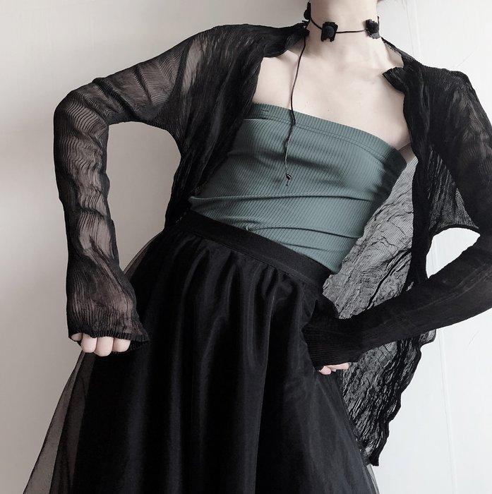 *菇涼家*三宅一生褶皱 開衫 山本風 防晒 肌理罩衫 暗黑先锋 透视上衣女