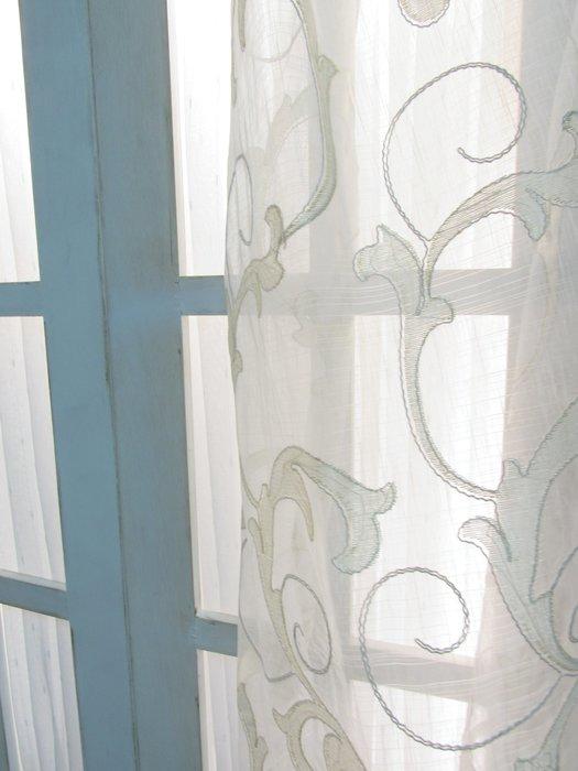 [W086]窗簾 窗紗  No.450蕨葉滾細條米白紗  特價出清  無接縫紗 古典 美式 立體