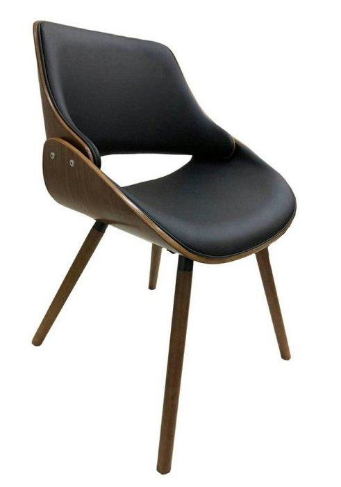 【微笑生活】馬克胡桃實木腳黑皮餐椅