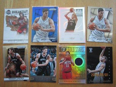 網拍讀賣~籃網隊~Brook Lopez~金磚限量球衣卡/149~2張限量卡/99/275~普特卡~8張一起賣~