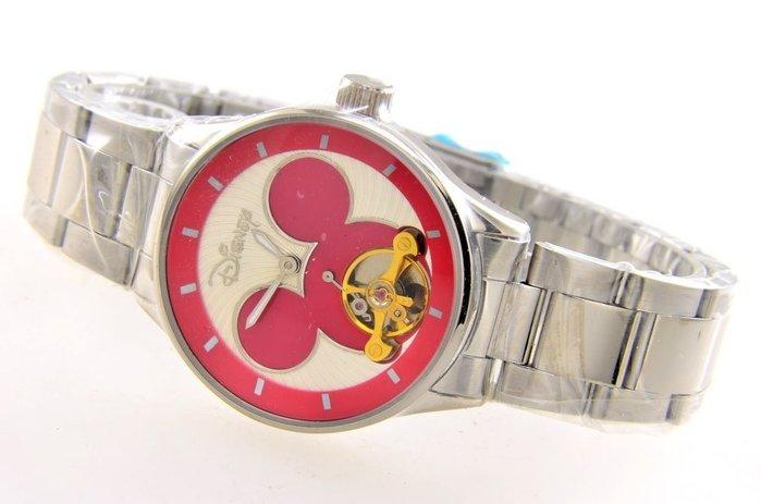 (六四三精品)3.5公分DISNEP米奇(真品)機械錶.似陀飛輪式.米奇面盤.不銹鋼錶帶!