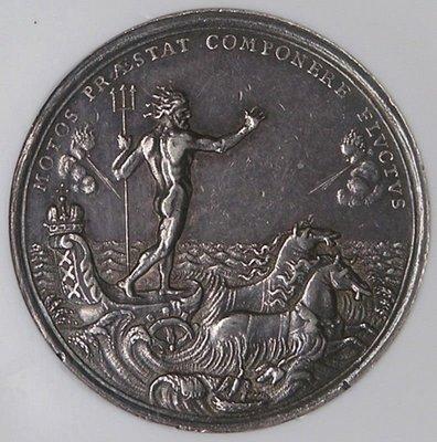 荷蘭銀章1696 Netherlands Neptune Sea Chariot Medal.