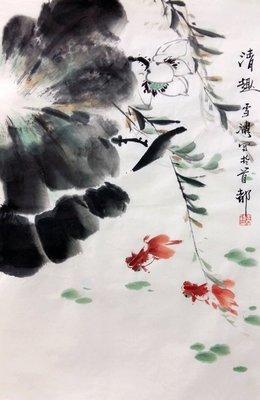 ~手繪 王雪濤 國畫 花鳥 贈文物局鑒定證書