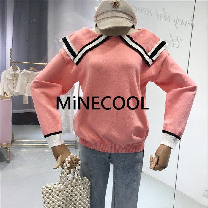 MiNE SHOP韓版撞色邊翻領套頭上衣M9221-7 四色 均碼