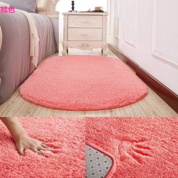 地墊 地毯 毛毯 簡約現代加厚橢圓形地毯地墊家用客廳臥室地毯房間床邊地毯床前毯 遊戲墊 坐墊—莎芭