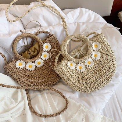 預購款-新款小雛菊草編包手工編織包沙灘包ins同款手提斜挎小包包女