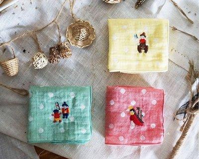 京都 日本製 金太郎 桃太郎 竹林公主 刺繡 點點 水玉 手帕 手巾 雙層紗 MH