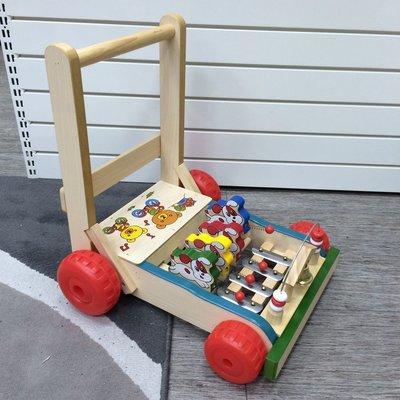 【彩蘋果】台灣製造  原木  雞公車 助步車 學步車 懷念復古的好玩具-現貨