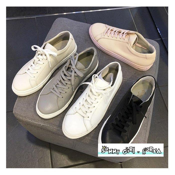 正韓休閒鞋*Sunny Girl*韓國代購真牛皮小白鞋運動鞋板鞋 2019十二月新款 - [WH1426]