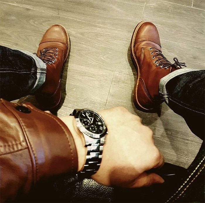 NYCT 韓國熱賣限定原創 高品質 歐美韓星百搭時尚必備款復古大頭哈雷皮靴8111真皮機車傘兵馬丁短靴男女高幫工裝鞋