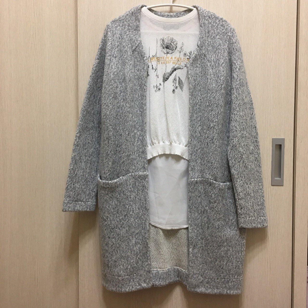ZARA W&B Open Cardigan 長版 灰色 口袋 外套 大衣