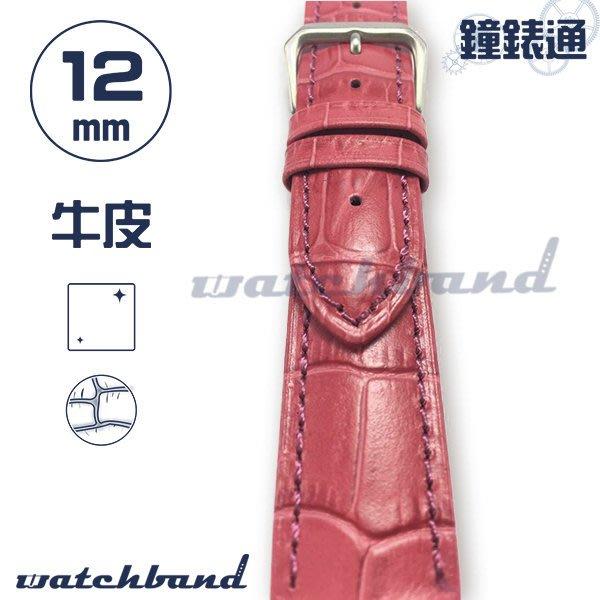【鐘錶通】C1-33AR《簡約系列》大花鱷魚紋-12mm 玫瑰紅  /手錶錶帶/大花鱷魚紋/牛皮錶帶/