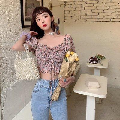 小香風 短袖T恤 時尚穿搭 復古 韓版 chic風襯衫女露肚臍抽繩碎花復古短款上衣短袖