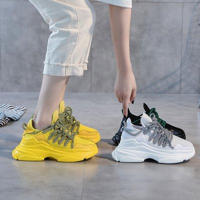 Fashion*輕便老爹鞋 厚底透氣網...
