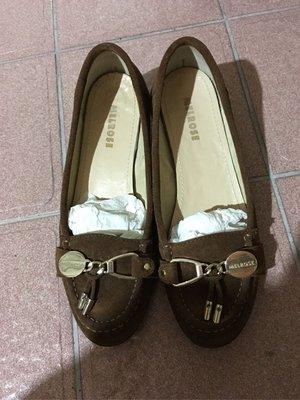 二手百貨專櫃MELROSE棕色金屬釦飾低跟鞋23.5號=37號
