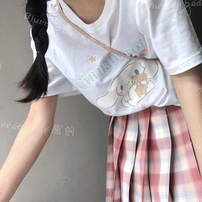 「盛夏優品」 BLURRED BEAR 日系夏裝純棉T恤女短袖卡通可愛風印花短袖D4A5