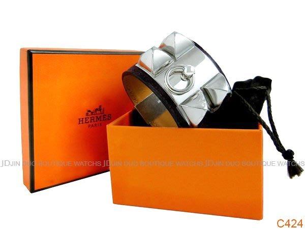 金鐸精品~C424 HERMES 愛馬仕CDC collier de chien銀色鉚釘 麂皮寬版 手環 全新特價品