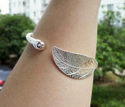嗨,寶貝銀飾珠寶* 925純銀☆999純銀 樹葉 一葉致富 實心 開口純銀手環 手鐲