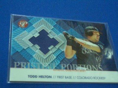 阿克漫259-3~MLB-2002年Topps Pristine限量1000張球衣特卡Todd Helton只有一張
