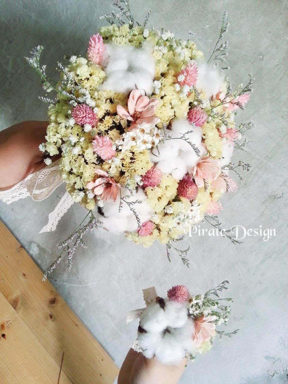❤°海藏設計 Pirate Design°❤達芙妮的甜蜜。黃白粉嫩乾燥花捧花,自然風乾燥花。花束。花圈頭圈。新娘捧花製作