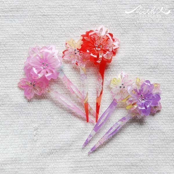 【MITHX】千櫻花火,重櫻,扇形髮簪,髮插-三色