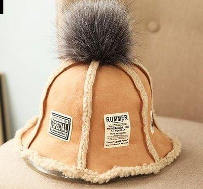 (輕舞飛揚)冬季新款保暖冬帽 冬天抓絨內膽大兔毛球拼布貼標加厚漁夫帽盆帽 駝