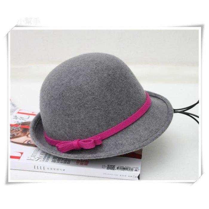 秋冬羊毛禮帽卷沿毛呢帽圓頂羊毛小禮帽冬季帽蝴蝶結盆帽(優品小舖)