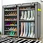 [特惠免運]雙排簡易鞋架防塵布鞋柜簡約現代...