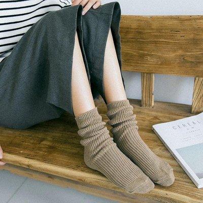 3雙秋冬女士堆堆襪條紋加厚中長筒羊毛襪日系女襪百搭個性潮靴襪
