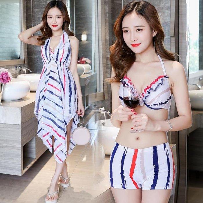 女士泳裝 游泳衣女士保守分體比基尼三件套性感顯瘦遮肚韓國小香風溫泉泳裝