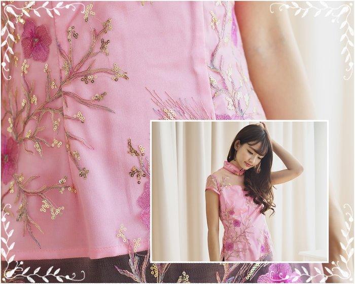 !!(中國藍Anewei))精緻絲粉繡花立領短袖衫/旗袍上衣/禮服~LXL最後2件~另有藍.婚宴 晚會