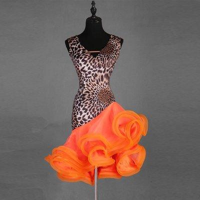 風雲舞服 性感V領拉丁舞服專業拉丁舞連身裙大擺裙新款三步踩廣場舞裙無袖
