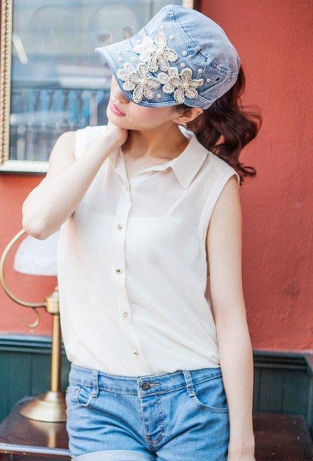 韓版牛仔帽 女 四季鴨舌帽遮陽帽鑲钻珍珠帽(中藍色)