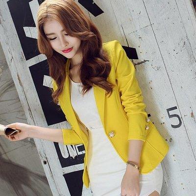 小西裝女秋裝新款韓版修身長袖素色短款外套OL時尚女士小西服   全館免運