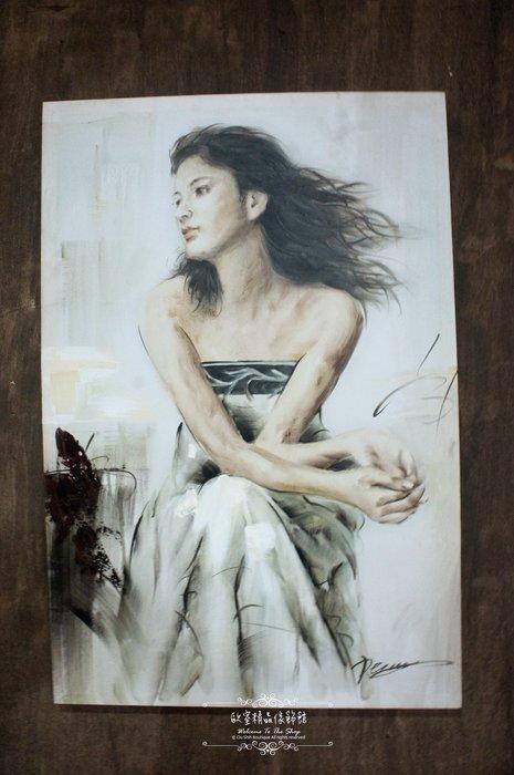 ~*~歐室精品傢飾館~*~鄉村風格 手工 繪製 工筆 油畫 時尚 摩登 女子 無框畫 掛畫 掛圖 壁飾 B款~新款上市~