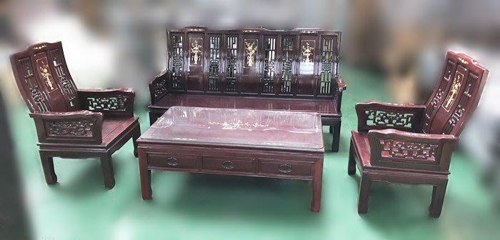 【宏品二手家具館】原木家具RW13001高級花梨木沙發組*木頭沙發/木板椅/客廳傢俱含大小茶几 泡茶桌椅 餐