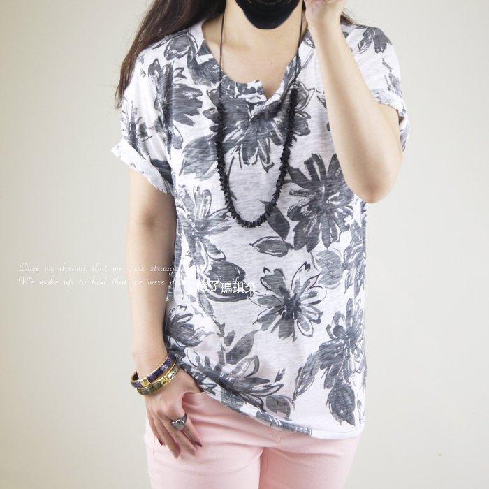 韓國連線 竹節紋理棉T-shirt ~桔子瑪琪朵