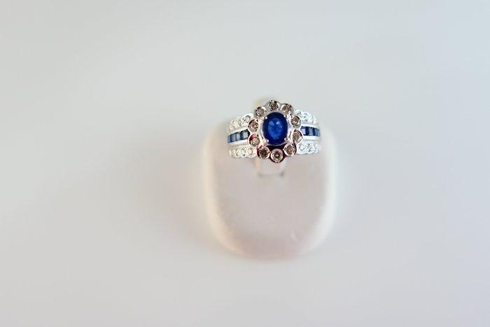 [吉宏精品交流中心]56分 天然藍寶石 天然鑽石 白K金 造型 戒指