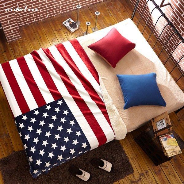 尼克卡樂斯~美國旗英國旗羊毛絨大毯子 床用毯 沙發毯子 車用毯子 雙人棉被 加厚羊毛毯 工業風寢具