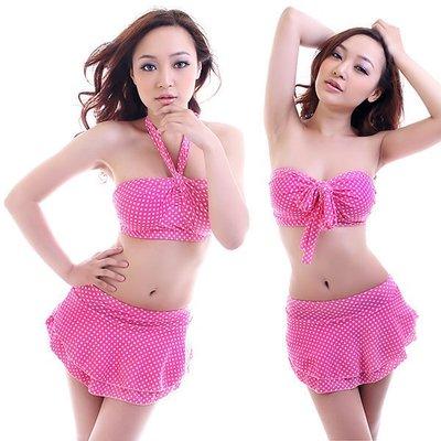 【免免 】2種穿法...粉紅點點蛋糕裙造型泳裝 (一次2套~300/1套)