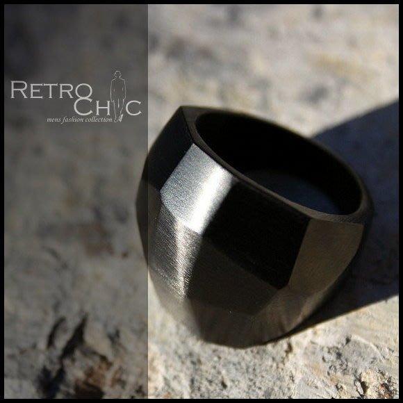 。R.C。 Zinif 概念精品款!! 結晶切面設計 霧黑鎢鋼素材.百搭時裝造型戒指!!~韓製/特惠390