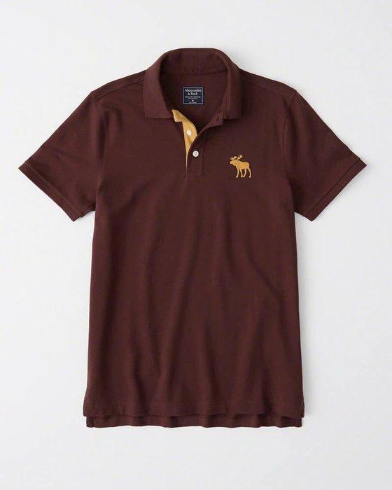 Maple麋鹿小舖 Abercrombie&Fitch * AF 棗紅色電繡大麋鹿POLO衫*( 現貨M號 )