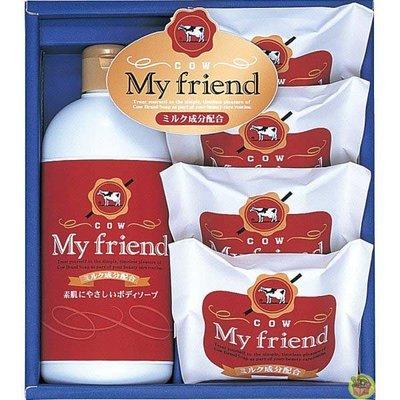 【JPGO】日本製 COW牛乳石鹼 禮盒組 內含牛乳香皂80gx4.沐浴乳300mlx1 #935