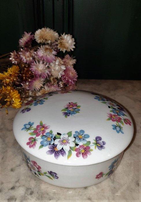 【卡卡頌 歐洲古董】法國老件未用  LIMOGES 利摩日 小彩花  大 瓷盒  首飾盒  珠寶盒 小物盒 p1765