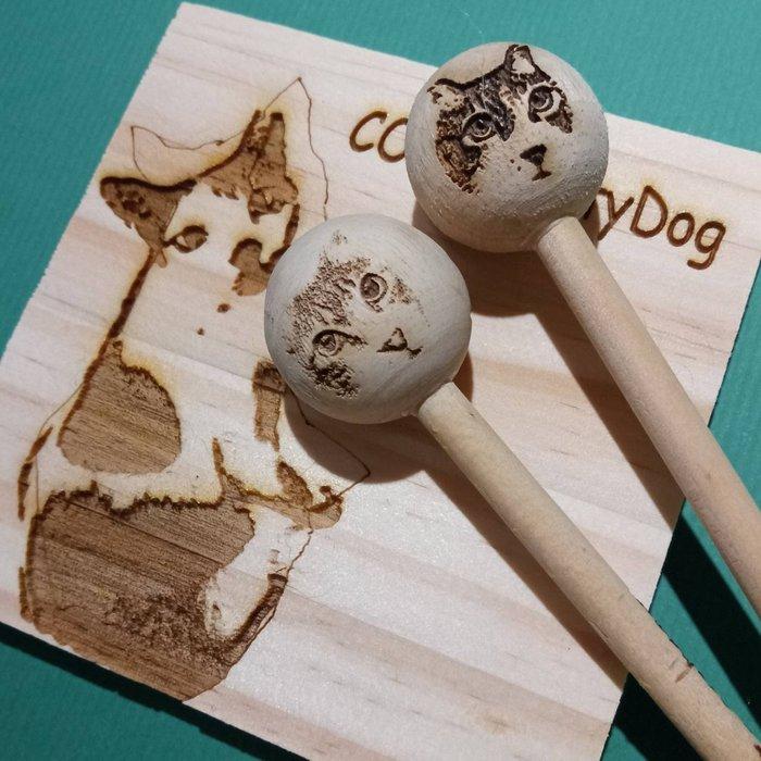 鼓棒訂製/ 圓頭琴槌 手鼓棒 雙面鼓棒 木魚棒 適用 雙面鼓 手鼓 木魚 高低木魚/kitty.dog手作訂製樂器包