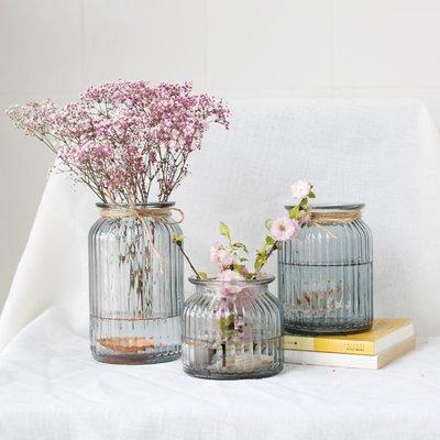 玻璃花瓶 辦公室水培植物瓶 家居擺件 桌面現代簡約插花花器    全館免運